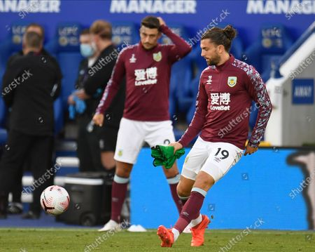 Burnley's Jay Rodriguez warms up ahead of the English Premier League soccer match between Leicester City and Burnley in Leicester, Britain, 20 September 2020.