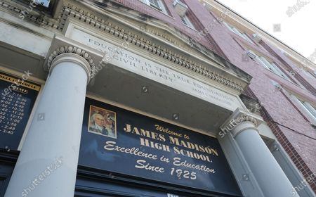 The exterior of James Madison High School in Brooklyn where the late Supreme Court Justice Ruth Bader Ginsburg attended.