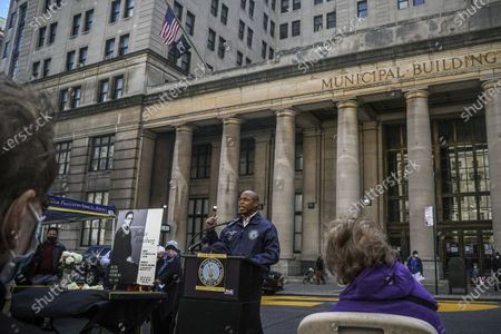 Brooklyn Borough President Eric Adams, center, speaks during a public remembrance to honor the life and legacy of U.S. Supreme Court Justice and former Brooklynite Ruth Bader Ginsburg, outside Brooklyn's, Municipal Building, in New York. Adams is calling on Mayor Bill de Blasio to rename the Municipal Building in honor of Justice Ginsburg, a Brooklynite who passed away Friday at the age of 87
