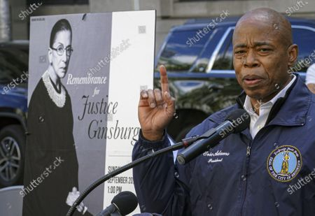Brooklyn Borough President Eric Adams speaks during a public remembrance to honor the life and legacy of U.S. Supreme Court Justice and former Brooklynite Ruth Bader Ginsburg, outside Brooklyn's, Municipal Building, in New York. Adams is calling on Mayor Bill de Blasio to rename the Municipal Building in honor of Justice Ginsburg, a Brooklynite who passed away Friday at the age of 87