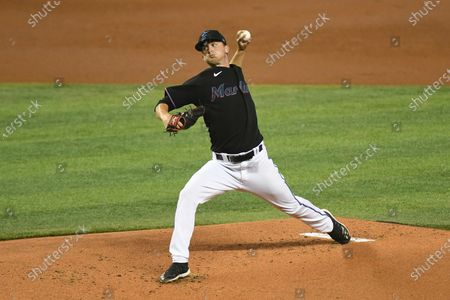 Miami Marlins starting pitcher Braxton Garretts throws during the first inning of a second game of doubleheader against the Washington Nationals, in Miami