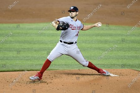 Washington Nationals starting pitcher Braxton Garretts throws during the second inning of a second game of doubleheader against the Miami Marlins, in Miami