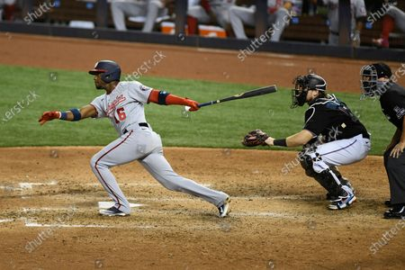 Washington Nationals Victor Robles hits a two-run home run in the sixth inning during the second baseball game of a doubleheader against the Miami Marlins, in Miami