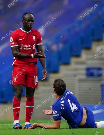 Sadio Mane of Liverpool reacts to Andreas Christensen of Chelsea after being tackled to the ground on his run to goal
