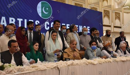 Leaders of opposition political parties Amir Hoti of Awami National Party, (Left to right), Maryam Nawaz of Pakistan Muslim League Nawaz, Shahzbaz Sharif of PMLN and Bilawal Bhutto Zardari of Pakistan People Party talk with journalists after an All Parties meeting in Islamabad, Pakistan, 20 September 2020. The major opposition political parties on 20 September gathered in Islamabad to discuss a movement against the policies of incumbent government.