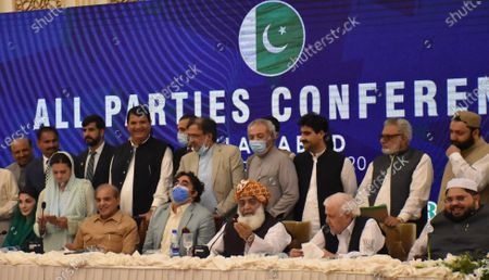 Leaders of opposition political parties Shahbaz Sharif (3 L to right) of Pakistan Muslim League Nawaz, Bilawal Bhutto Zardari of Pakistan People Party, Maulana Fazal ur Rehman of Jamiat Ulma-e-Islam and Aftab Sherpao of Pakistan Peoples Party Sherpao, talk with journalists after an All Parties meeting in Islamabad, Pakistan, 20 September 2020. The major opposition political parties on 20 September gathered in Islamabad to discuss a movement against the policies of incumbent government.