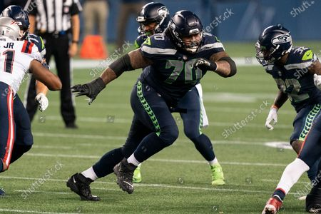 Stock Picture of Seattle Seahawks offensive lineman Mike Iupati is pictured during the second half of an NFL football game against the New England Patriots, in Seattle. The Seahawks won 35-30