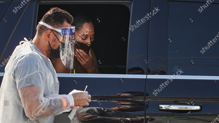 Tracee Ellis Ross gets a covid test before entering Staples Center for the Emmys