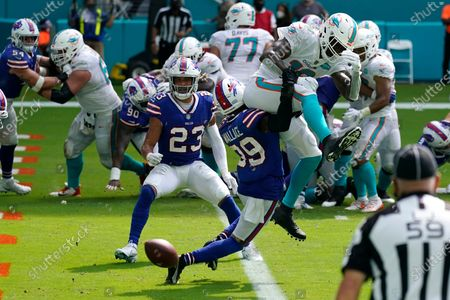 Buffalo Bills cornerback Levi Wallace (39) stops Miami Dolphins wide receiver Preston Williams at the goal line on 4th down and one in the third quarter during an NFL football game, in Miami Gardens, Fla