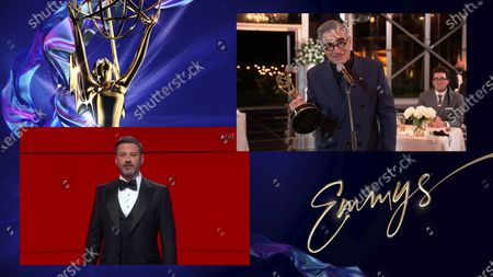 "Jimmy Kimmel presents the Emmy for Outstanding Lead Actor in a Comedy Series to Eugene Levy for ""Schitt's Creek"" during the 72nd Emmy Awards telecast on at 8:00 PM EDT/5:00 PM PDT on ABC"
