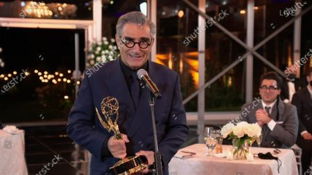 "Eugene Levy accepts the Emmy for Outstanding Lead Actor in a Comedy Series for ""Schitt's Creek"" during the 72nd Emmy Awards telecast on at 8:00 PM EDT/5:00 PM PDT on ABC"