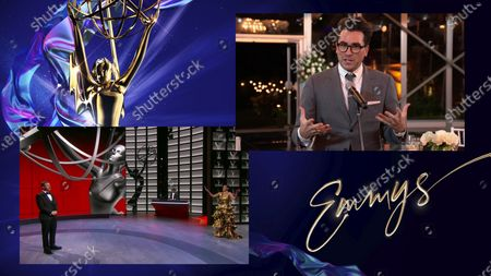 """Jimmy Kimmel, left, and Tracee Ellis Ross present the Emmy for Outstanding Writing for a Comedy Series to Daniel Levy for """"Schitt's Creek"""" during the 72nd Emmy Awards telecast on at 8:00 PM EDT/5:00 PM PDT on ABC"""