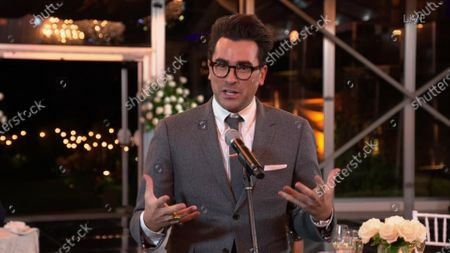 """Daniel Levy accepts the Emmy for Outstanding Writing for a Comedy Series for """"Schitt's Creek"""" during the 72nd Emmy Awards telecast on at 8:00 PM EDT/5:00 PM PDT on ABC"""