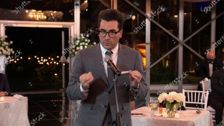 """Daniel Levy accepts the Emmy for Outstanding Supporting Actor in a Comedy Series for """"Schitt's Creek"""" during the 72nd Emmy Awards telecast on at 8:00 PM EDT/5:00 PM PDT on ABC"""