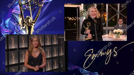 "Jennifer Aniston presents the Emmy for Outstanding Lead Actress in a Comedy Series to Catherine O'Hara for ""Schitt's Creek"" during the 72nd Emmy Awards telecast on at 8:00 PM EDT/5:00 PM PDT on ABC"