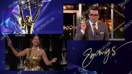 """Tracee Ellis Ross presents the Emmy for Outstanding Writing for a Comedy Series to Daniel Levy for """"Schitt's Creek"""" during the 72nd Emmy Awards telecast on at 8:00 PM EDT/5:00 PM PDT on ABC"""