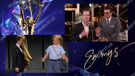 """Stock Picture of Jimmy Kimmel, left, and Anthony Carrigan present the Emmy for Outstanding Directing for a Comedy Series to Andrew Cividino and Daniel Levy for """"Schitt's Creek"""" for """"Happy Ending"""" during the 72nd Emmy Awards telecast on at 8:00 PM EDT/5:00 PM PDT on ABC"""