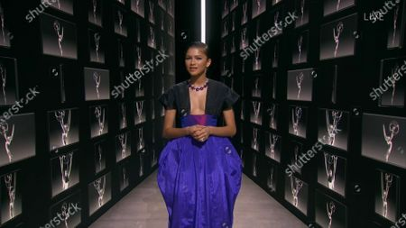 Stock Picture of Zendaya speaks on stage during the 72nd Emmy Awards telecast on at 8:00 PM EDT/5:00 PM PDT on ABC