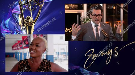"""Cindy Marcelin, essential worker and U.S. history teacher, presents the Emmy for Outstanding Supporting Actor in a Comedy Series to Daniel Levy for """"Schitt's Creek"""" during the 72nd Emmy Awards telecast on at 8:00 PM EDT/5:00 PM PDT on ABC"""