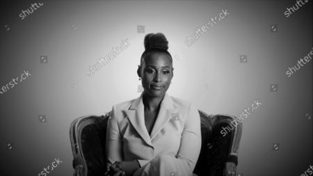 Stock Image of Issa Rae speaks during the 72nd Emmy Awards telecast on at 8:00 PM EDT/5:00 PM PDT on ABC