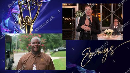 """Tim Loyd, essential worker and UPS employee, presents the Emmy for Outstanding Supporting Actress in a Comedy Series to Annie Murphy for """"Schitt's Creek"""" during the 72nd Emmy Awards telecast on at 8:00 PM EDT/5:00 PM PDT on ABC"""
