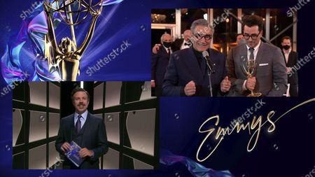"Stock Photo of Jason Sudeikis presents the Emmy for Outstanding Comedy Series to Eugene Levy and Daniel Levy for ""Schitt's Creek"" during the 72nd Emmy Awards telecast on at 8:00 PM EDT/5:00 PM PDT on ABC"