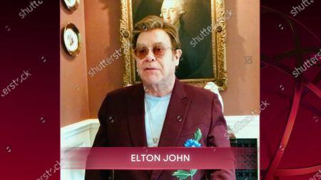 Elton John speaks during the 72nd Emmy Awards telecast on at 8:00 PM EDT/5:00 PM PDT on ABC