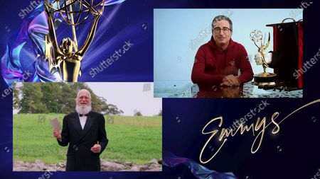 """David Letterman presents the Emmy for Outstanding Variety Talk Series to John Oliver for """"Last Week Tonight with John Oliver"""" during the 72nd Emmy Awards telecast on at 8:00 PM EDT/5:00 PM PDT on ABC"""