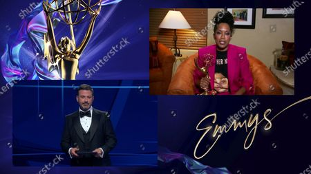 """Jimmy Kimmel presents the Emmy for Outstanding Lead Actress in a Limited Series or Movie to Regina King for """"Watchmen"""" during the 72nd Emmy Awards telecast on at 8:00 PM EDT/5:00 PM PDT on ABC"""