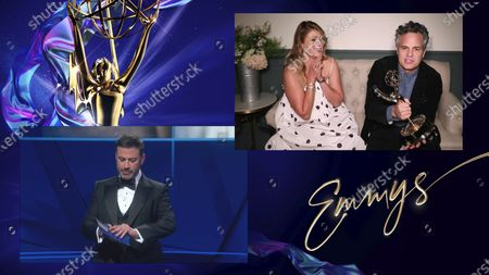 """Jimmy Kimmel presents the Emmy for Outstanding Lead Actor in a Limited Series or Movie to Mark Ruffalo for """"I Know this Much is True"""" during the 72nd Emmy Awards telecast on at 8:00 PM EDT/5:00 PM PDT on ABC. Looking on from left of Ruffalo is Sunrise Coigney"""