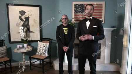 "Damon Lindelof, left, and Cord Jefferson accept the Emmy for Outstanding Writing for a Limited Series, Movie or Dramatic Special for ""Watchmen"" for ""This Extraordinary Being during the 72nd Emmy Awards telecast on at 8:00 PM EDT/5:00 PM PDT on ABC"