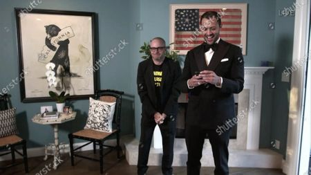 "Stock Image of Damon Lindelof, left, and Cord Jefferson accept the Emmy for Outstanding Writing for a Limited Series, Movie or Dramatic Special for ""Watchmen"" for ""This Extraordinary Being during the 72nd Emmy Awards telecast on at 8:00 PM EDT/5:00 PM PDT on ABC"