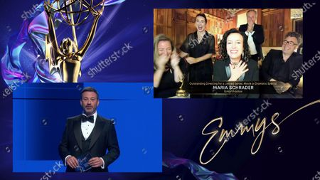 """Jimmy Kimmel presents the Emmy for Outstanding Directing for a Limited Series, Movie or Dramatic Special to Maria Schrader, center, and the team form """"Unorthodox"""" during the 72nd Emmy Awards telecast on at 8:00 PM EDT/5:00 PM PDT on ABC"""