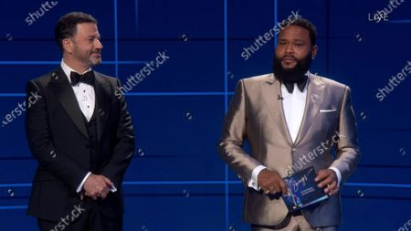 Jimmy Kimmel, left, and Anthony Anderson present the Emmy for Outstanding Limited Series or Movie during the 72nd Emmy Awards telecast on at 8:00 PM EDT/5:00 PM PDT on ABC