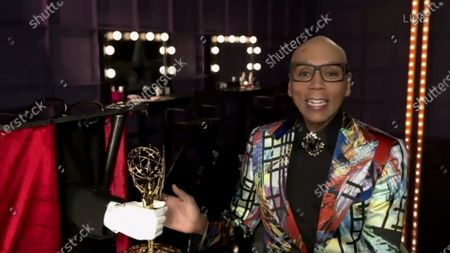 """RuPaul from """"RuPaul's Drag Race"""" accepts the Emmy for Outstanding Competition Program during the 72nd Emmy Awards telecast on at 8:00 PM EDT/5:00 PM PDT on ABC"""