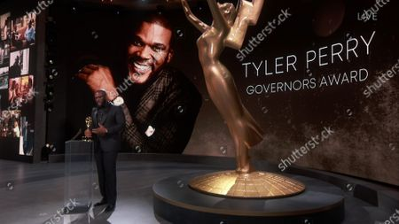 Stock Image of Tyler Perry accepts the Governors Award during the 72nd Emmy Awards telecast on at 8:00 PM EDT/5:00 PM PDT on ABC