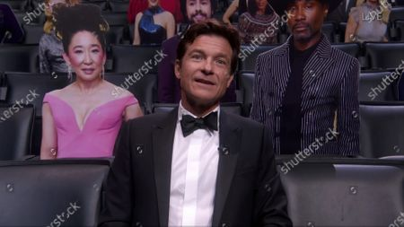 Stock Image of Jason Bateman speaks from the audience during the 72nd Emmy Awards telecast on at 8:00 PM EDT/5:00 PM PDT on ABC