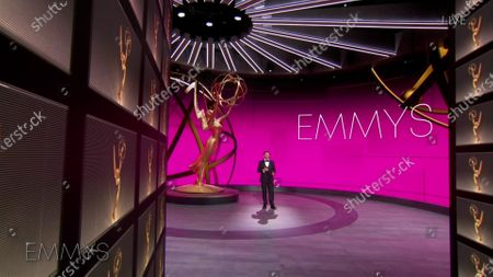 Host Jimmy Kimmel speaks during the 72nd Emmy Awards telecast on at 8:00 PM EDT/5:00 PM PDT on ABC