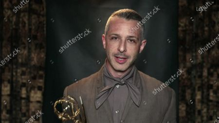 """Jeremy Strong accepts the Emmy for Outstanding Lead Actor in a Drama Series for """"Succession"""" during the 72nd Emmy Awards telecast on at 8:00 PM EDT/5:00 PM PDT on ABC"""