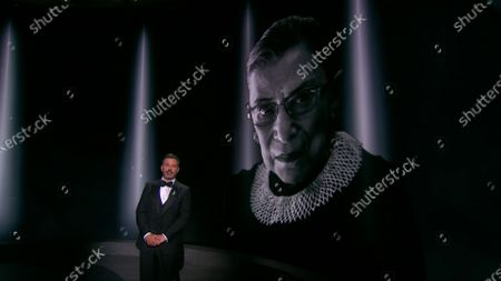 Jimmy Kimmel presents the in memoriam segment during the 72nd Emmy Awards telecast on at 8:00 PM EDT/5:00 PM PDT on ABC