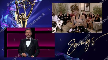 """Jimmy Kimmel presents the Emmy for Outstanding Lead Actress in a Drama Series to Zendaya for """"Euphoria"""" during the 72nd Emmy Awards telecast on at 8:00 PM EDT/5:00 PM PDT on ABC"""