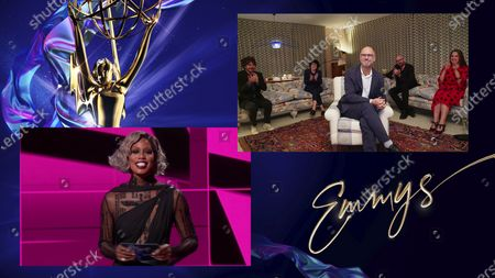 """Laverne Cox presents the Emmy for Outstanding Directing for a Drama Series to Jesse Armstrong for """"This Is Not For Tears"""" during the 72nd Emmy Awards telecast on at 8:00 PM EDT/5:00 PM PDT on ABC"""