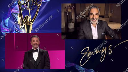 """Stock Image of Jimmy Kimmel presents the Emmy for Outstanding Directing for a Drama Series to Andrij Parekh for """"Succession"""" for """"Hunting"""" during the 72nd Emmy Awards telecast on at 8:00 PM EDT/5:00 PM PDT on ABC"""