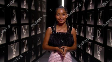 Stock Picture of Yara Shahidi speaks on stage during the 72nd Emmy Awards telecast on at 8:00 PM EDT/5:00 PM PDT on ABC