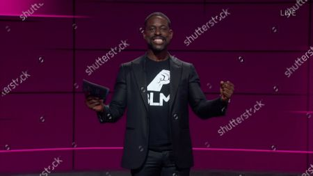 Stock Image of Sterling K. Brown presents the Emmy for Outstanding Drama Series during the 72nd Emmy Awards telecast on at 8:00 PM EDT/5:00 PM PDT on ABC