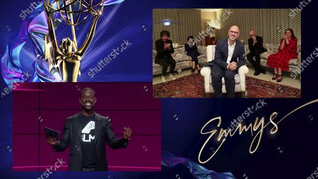 "Sterling K. Brown presents the Emmy for Outstanding Drama Series to Jesse Armstrong, center, and the team from ""Succession"" during the 72nd Emmy Awards telecast on at 8:00 PM EDT/5:00 PM PDT on ABC"