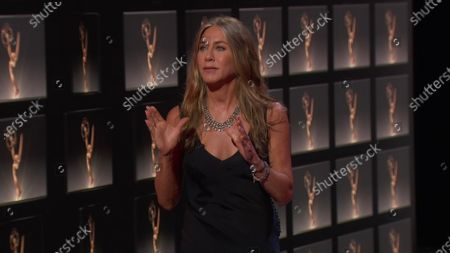 Stock Picture of Jennifer Aniston presents the Emmy for Outstanding Lead Actress in a Comedy Series during the 72nd Emmy Awards telecast on at 8:00 PM EDT/5:00 PM PDT on ABC