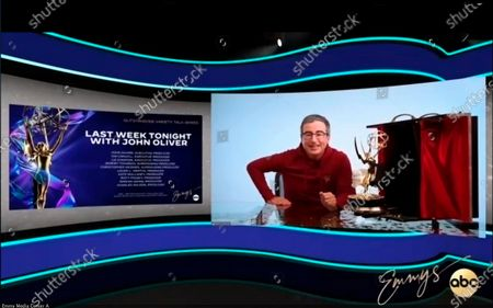 """Stock Image of This video grab captured during the 72nd Emmy Awards Media Center, shows John Oliver from """"Last Week Tonight with John Oliver"""" being interviewed about his win for Outstanding Variety Talk Series during the 72nd Emmys on Sunday, Sept 20. 2020"""