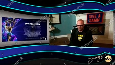 "Stock Picture of This video grab captured during the 72nd Emmy Awards Media Center, shows Damon Lindelof from ""Watchmen"" being interviewed about his win for Outstanding Writing for a Limited Series, Movie or Dramatic Special during the 72nd Emmys on Sunday, Sept 20. 2020"