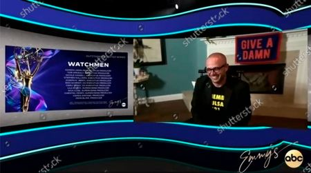 "Stock Photo of This video grab captured during the 72nd Emmy Awards Media Center, shows Damon Lindelof from ""Watchmen"" being interviewed about his win for Outstanding Writing for a Limited Series, Movie or Dramatic Special during the 72nd Emmys on Sunday, Sept 20. 2020"